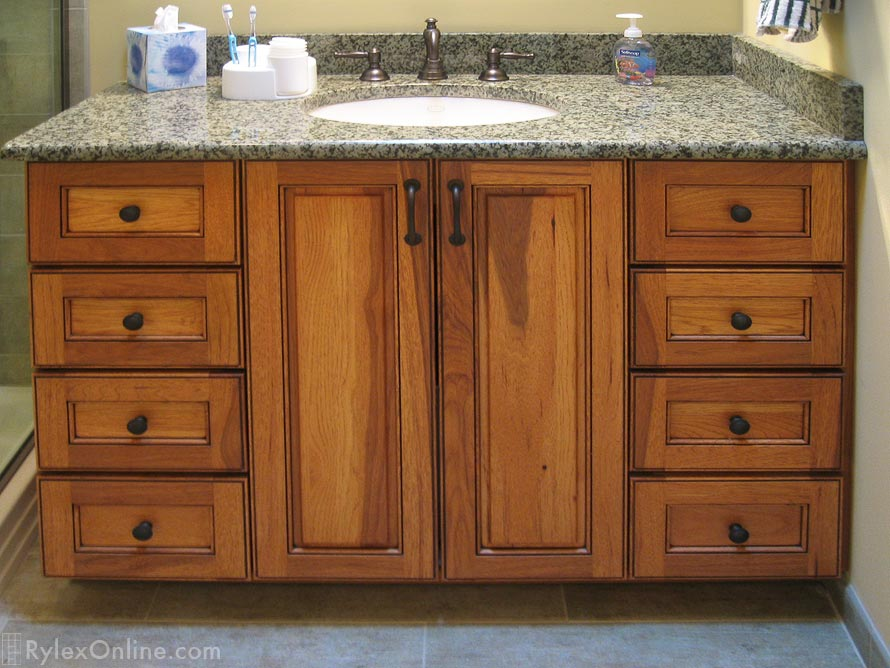 Hickory Wood Bath Vanity Cabinet