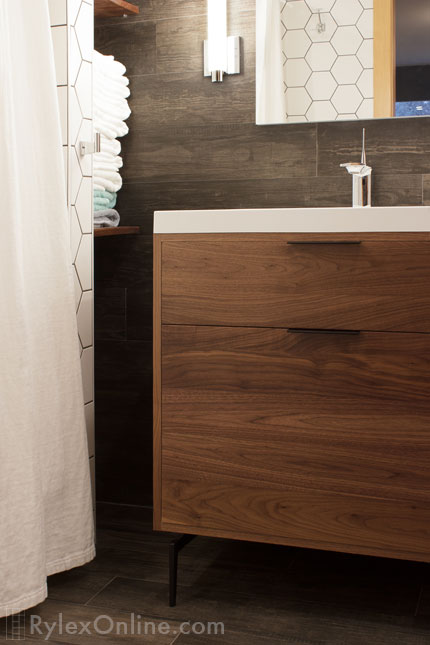 Modern Walnut Vanity Contemporary Bathroom Warwick Ny