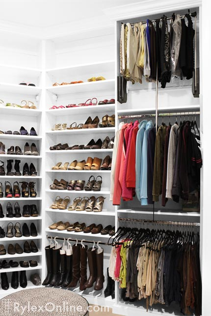 Airy Bedroom Closet With Shoe Storage