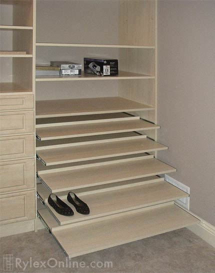 Sliding Shoe Shelves Pull Out Shoe Shelves Orange