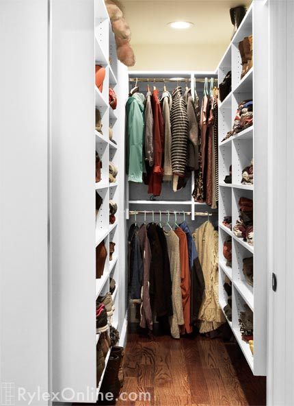 Narrow Walk In Closet Melamine Bedroom Closet Open