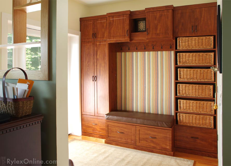 Entryway Cabinet With Baskets Coat And Boot Storage