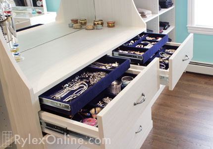 Double Tiered Jewelry Drawer Velvet Lined Closet