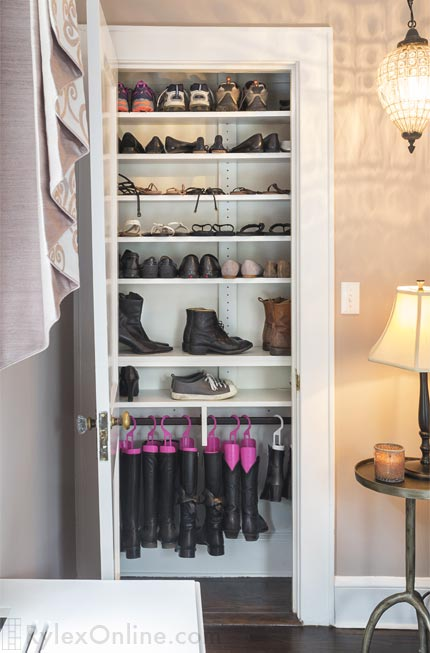 shallow shoe closet visible shoe organization new
