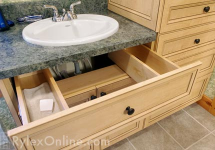 U Shaped Vanity Sink Drawer