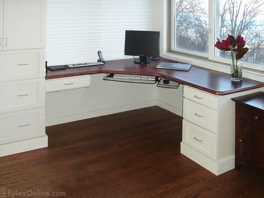 Corner Mahogany Office Built In Desk Shaker Cabinets